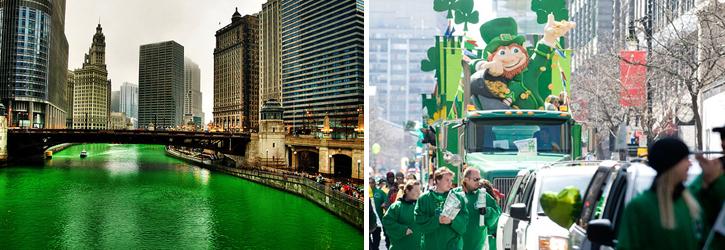 Rivière de Chicago et parade de la St-Patrick