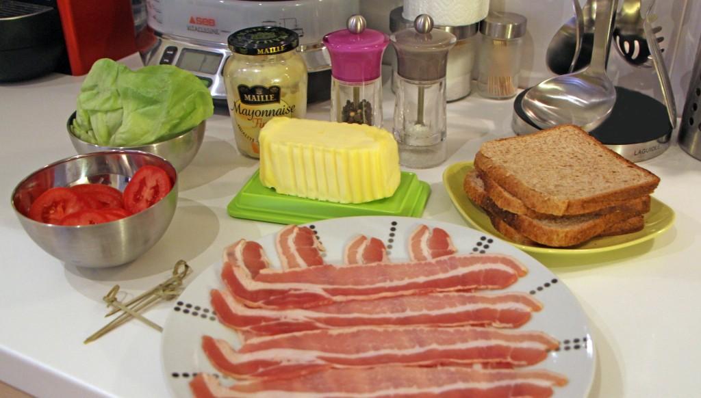 Ingrédients recette sandwich Bacon Lettuce Tomato