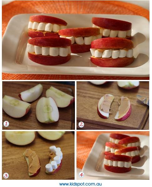 Dentiers en pommes et chamallows pour déco halloween