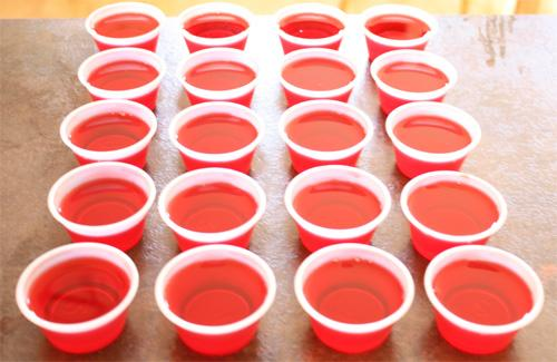 les jello shots dans les verres en plastiques