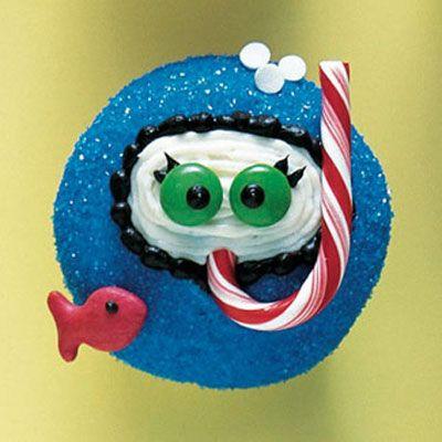 cupcakes décorées en cannes à sucre