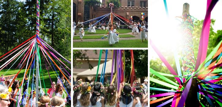 Maypole Dancing : les américains dansent en enroulant des rubans autour d'un poteau