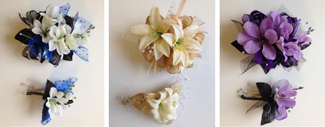 Corsages américains en fleurs pour couples de bal de promo