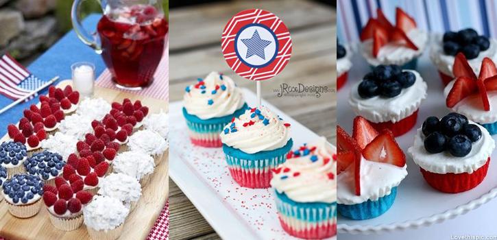 Cupcakes aux couleurs de la fête nationale américaine ou française